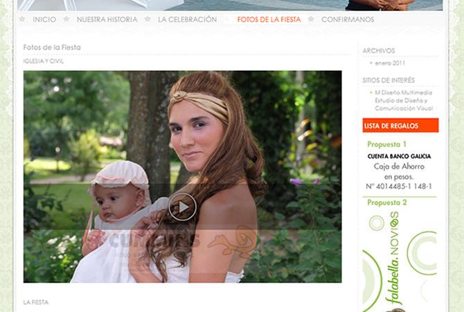 Diseño de sitio web para casamiento, galería de imágenes.