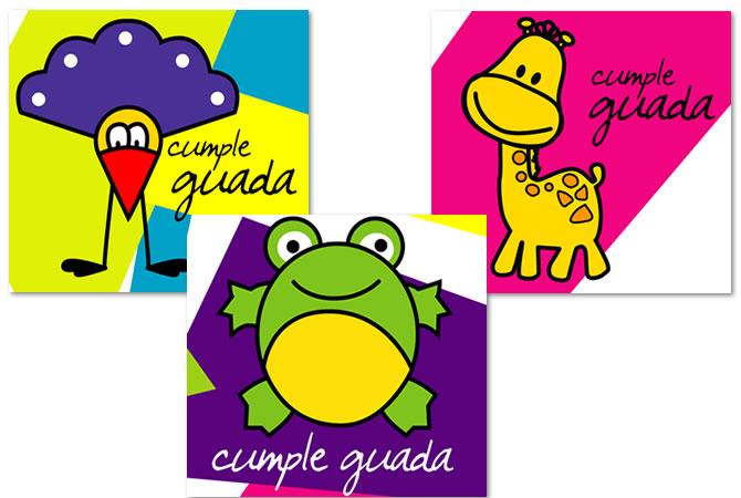 Diseño de tarjetas impresas para cumple de niños.
