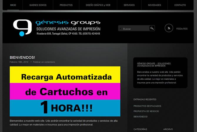 Diseño de sitio web, página principal. Sistema de administración de contenidos wordpress.