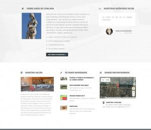Página de Inicio, con breve descripción del hotel, testimonios, acceso a ultimas novedades y google map con datos de ubicación.