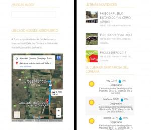 Widgets del sitio: Buscador, google map con distancias desde el Aeropuerto, clima del lugar, y últimas novedades