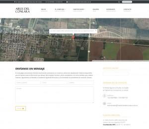 Link de Contacto, con Google Map full screen, datos de ubicación GPS, dirección del lugar, datos de contacto y formulario.