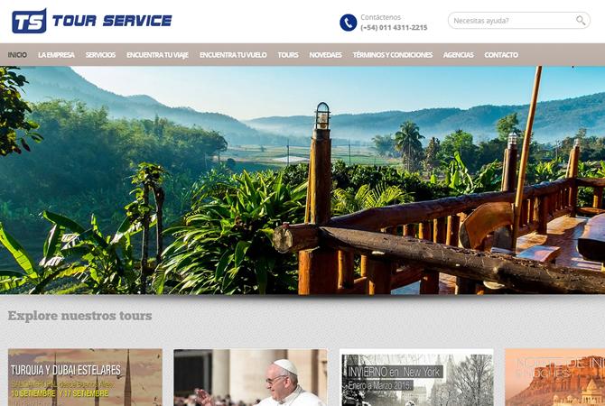 Diseño de sitio web para Tour Service, página de Inicio con slider con los destinos más interesantes.