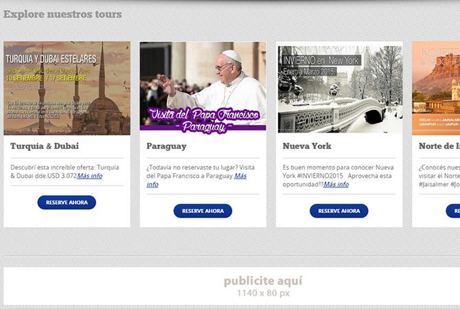 Página de Inicio con atajo a secciones importantes como los tours.
