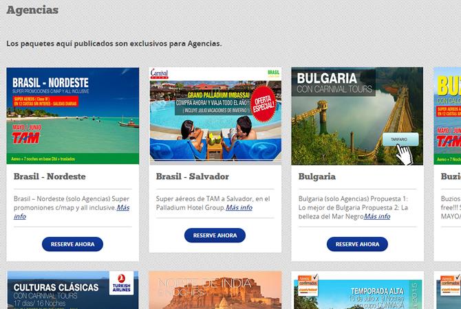 Sección especial para paquetes de viajes para AGENCIAS.