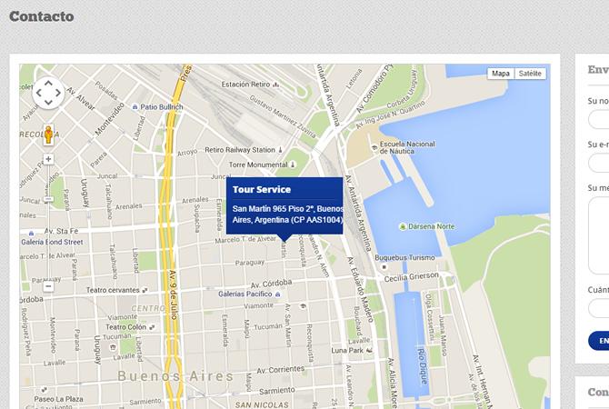 Link de contacto con mapa de ubicación de las oficinas de la empresa y form de contacto.